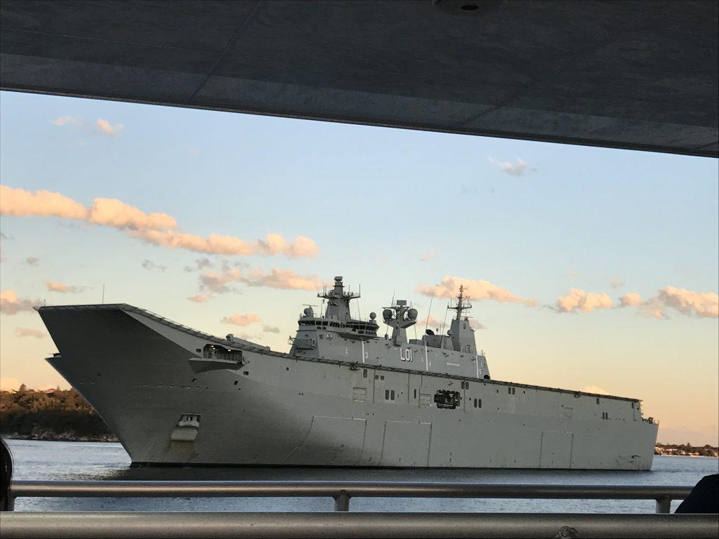 Battleship in the harbor